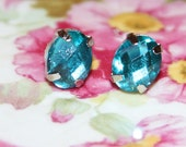 Vintage Aqua Blue Rhinestone Silver Setting Post Earrings
