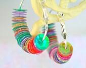 Vintage  Sequins Multicolor Rainbow Bright Fun Silver Hoop Earrings