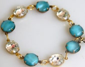 Vintage Aqua Moonstone Clear Rhinestone Brass Setting Bracelet