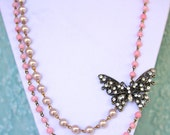Vintage Rhinestone Butterfly Pendant Lavender Purple Pink Swirl Glass Beaded Rosary Double Strand OOAK Statement  Necklace