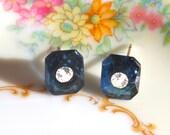 Vintage Rhinestone Montana Blue Glass Rectangle Bridal Rhinestone Post Earrings