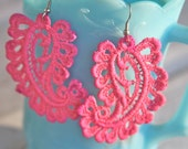 Vintage Pink Paisley Lace Dangle Earrings - Wedding, Bridesmaids,Bridal,beach