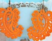 Vintage Tangerine Orange Lace Paisley Statement Drop Dangle Earrings - Wedding, Beach, Bridesmaids