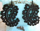 Black Lace Paisley Vintage Drop Dangle Earrings - Bridesmaids, Wedding,Bridal, Statement Earring
