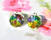 Swarovki Round Rainbow Vitrail Rhinestone Post Earrings