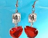 Red Heart Vintage Rhinestone Clear Silver Drop  Rhinestone Dangle Earrings