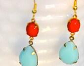 Vintage Mint Green Alabaster Pear Tear Drop  Red Oval Glass Rhinestone  Drop Dangle Earrings - Wedding, Bridal , Bridesmaid