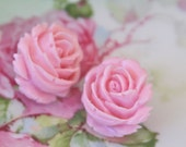 Cotton Candy Pink Ruffled Rose Flower Post Earrings