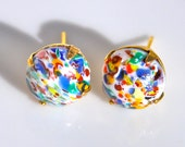 Vintage White Glass Multicolor Red Blue Green Yellow Orange Speckled Round Post Earrings