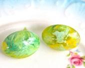 Vintage Oval Green Yellow Swirl Moonstone Glass Post Earrings