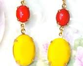 Vintage Bright Yellow Cherry Red Oval Faceted Stones Dangle Earrings