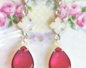 Vintage Fuchsia Pink Pear Shape Glass Stones Clear White Square Silver Plated Rhinestone Tear Drop Dangle  Earrings