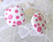 Vintage Pink and White Polka Dot  Square Post Earrings