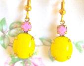 Vintage Oval Round,Lemon Yellow, Opaque Pink,Brass, Dangle Drop Earrings