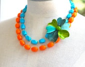 RESERVED For Michelle Aqua Blue Teal Green Vintage Enamel Flower Orange Glass Bead Statement Necklace -One of a Kind,Statement, Bridal,