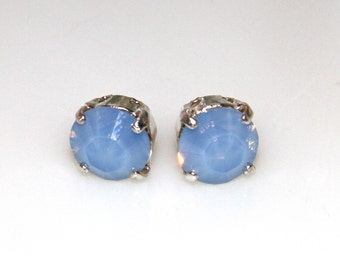 Swarovski Blue Opal Chaton Silver Setting Rhinestone Setting Post Earrings- Wedding , Bridesmaids