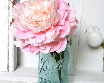 Vintage Aqua Blue Ball Quart Mason Jar - Wedding, Bridal, Gift , Floral