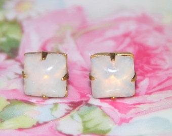 Vintage Opal White Square Glass Stone Brass Gold Rhinestone Post Earrings - Bridesmaids, Bridal, Wedding