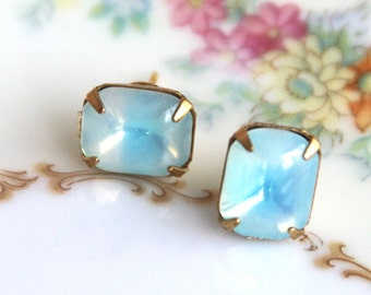 Vintage Aqua Blue Rhinestone Glass Brass Gold Rectangle Post Earrings - Bridesmaids, Wedding, Bridal