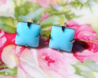 Vintage  Blue Square Glass Stone Silver Post Earrings - Bridesmaid, Bridal Earrings, Bridal Gift