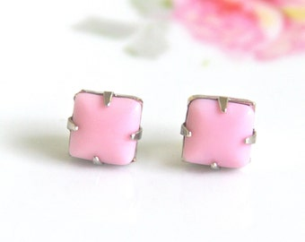 Vintage Pink Square Glass Stone SILVER TONE Post Earrings - Bridesmaids, Wedding Earrings