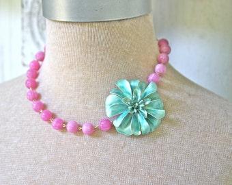 Aqua Teal Blue Vintage Enamel Flower Purple Glass Jade Bead Necklace - One of a Kind, Wedding,Bridal,Statement Necklace