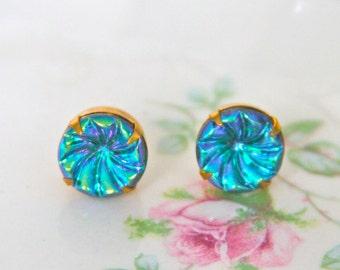 Vintage Turquoise Aqua Blue Iridescent Swirl Rhinestone Glass Brass Gold Post Earrings -Bridesmaids, Wedding