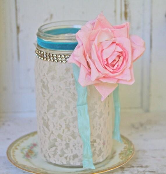 Shabby Chic WEDDING BRIDAL Vintage Mason Jar With Ivory Lace Vintage Pink Rose Rhinestones Velvet Ribbon Candle Holder  Vase