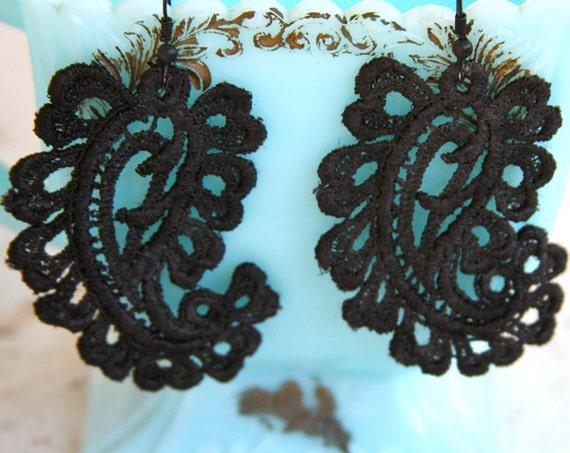 Black Lace Paisley Vintage Drop Dangle Earrings - Bridesmaids, Wedding,Bridal, Statement Earring