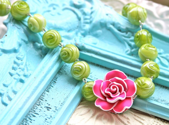 Vintage Inspired Ruffled Hot Pink White Rose on Lime Green Round Swirl Design Glass Bead  Statement Necklace