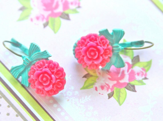 Aqua Blue Hot Pink Flower Bow Turquoise Lever Back Drop Dangle Earrings - Wedding, Bridal, Beach
