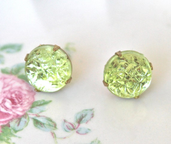 Vintage Green Round Textured Glass Gold Rhinestone Post Earrings - Wedding Earrings, Bridesmaid Earrings