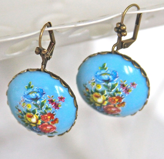 Vintage Blue Floral Bouquet Round Scalloped Antiqued Brass Setting Dangle Earrings
