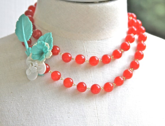 Vintage Aqua Blue and White Flower Cluster Stem Pendant, Cherry Red Glass Jade Beads,One of a Kind,Fashion Statement Necklace