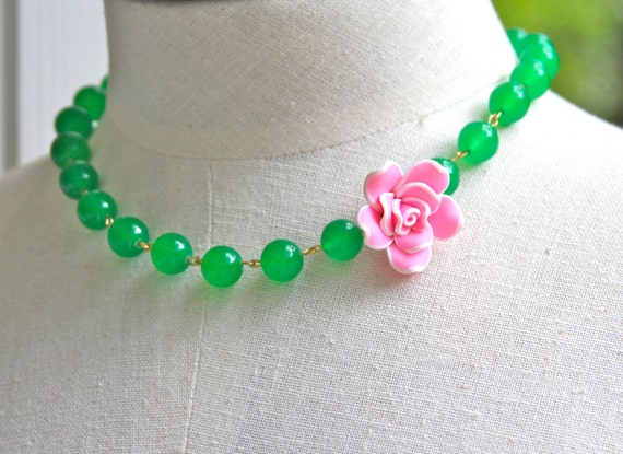 Vintage Inspired Bubblegum Pink Rose Flower Green Glass Bead Necklace - Wedding, Bridal, Bridesmaids