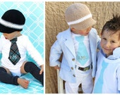 Twin Baby Boys, 2 Personalized Tie Onesies.  Any 2 Ties, Any Size, Any Names or Monograms Embroidered on Our Little Man Tie.  Mother's Day