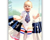 Baby Boy 4th of July, Memorial Day Summer Patriotic, Independence Day 2012 Tie Onesie / Bodysuit & Leg Warmers SET.