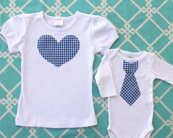 Summer Matching Big Sister Little Brother SET.  Non - Personalized T-Shirts.  Any Tie AND Any Heart.  Coming home, Father's Day, 4th of July