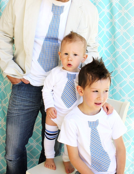 Father's Day Tie Shirt Gift Set of 2.  Men's Tie T-Shirt and Boys Tie T-Shirt.  Spring Summer Wedding Plaid Men's Outfit Mother's Day Outfit