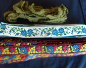 Floral, Blue Roses, Moss Green Fabric Ribbons