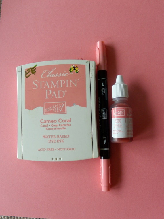 Stamp Pad Stampin Up Cameo Coral, Re Inker Bottle and Paper
