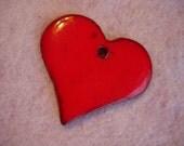 Vintage Large Handmade Red  Heart Pendant
