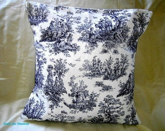 """Pillow Cover  Waverly Blue and Off White French Toile Jamestown 16x16 """""""