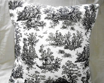 Pillow Cover Waverly Black and  White French Toile 20x20 inches