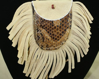 Handmade Bib Necklace Snake skin Deerhide  Bag with fringes Chic Bohemian Style
