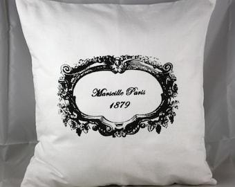 """Pillow Cover  White Marseille Paris 1879 Screen Printed on White Cotton Canvas 16x16 """""""