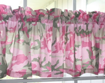 Valances Pink Camouflage for Kids Bedroom two pieces  of 42 inches x13 inches