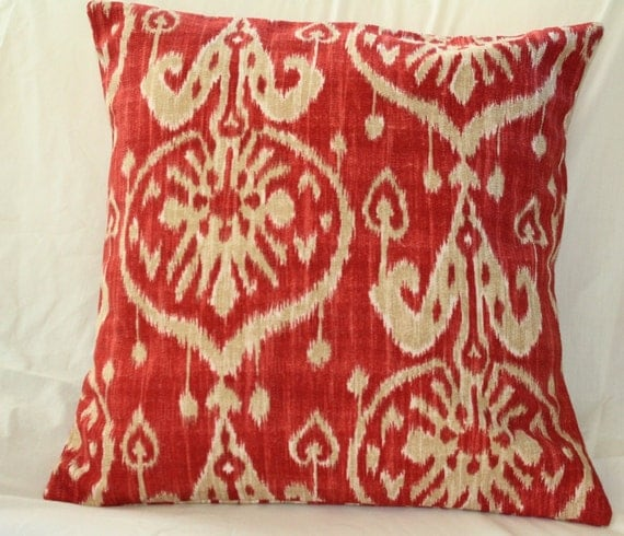 16x16 Red Ikat Pillow Cover Free Shipping