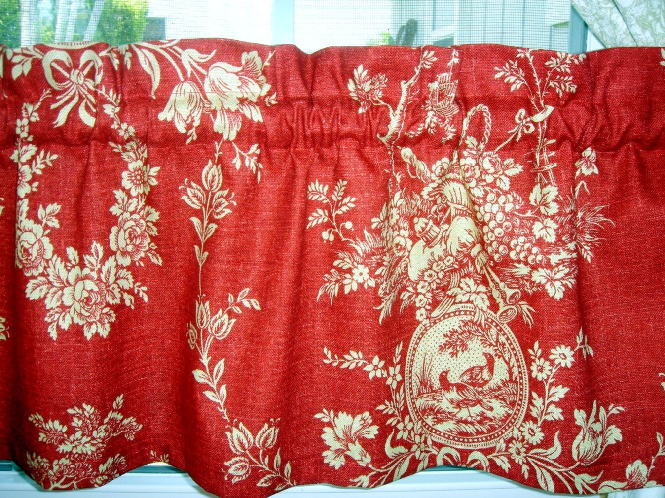Valance Waverly Wine Red And Beige Country House Toile Free