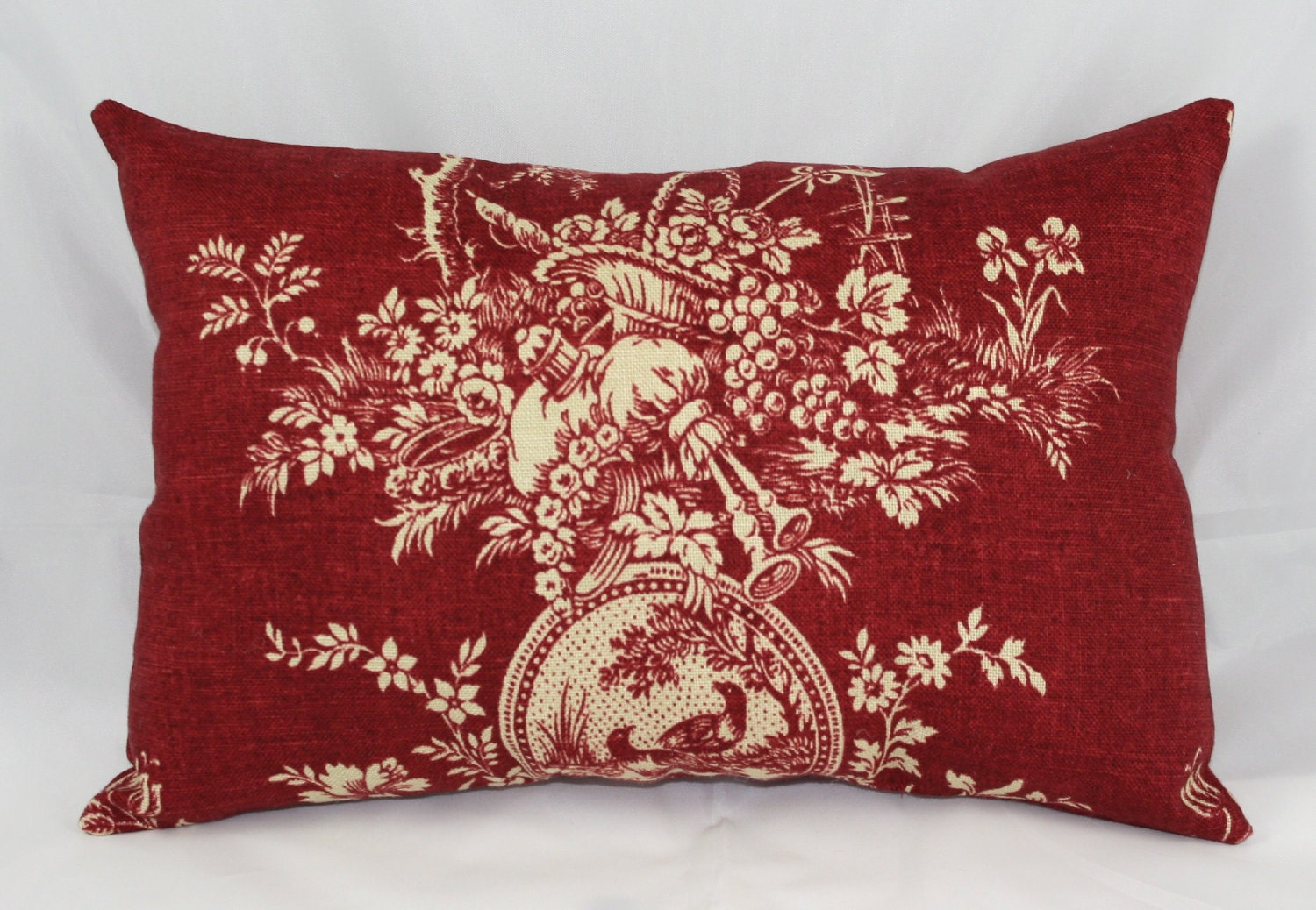 Pillow Waverly Red Burgundy Toile Country House 14 X 9